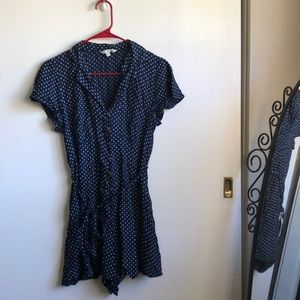 American Eagle Polka Dot Navy Romper with Collar